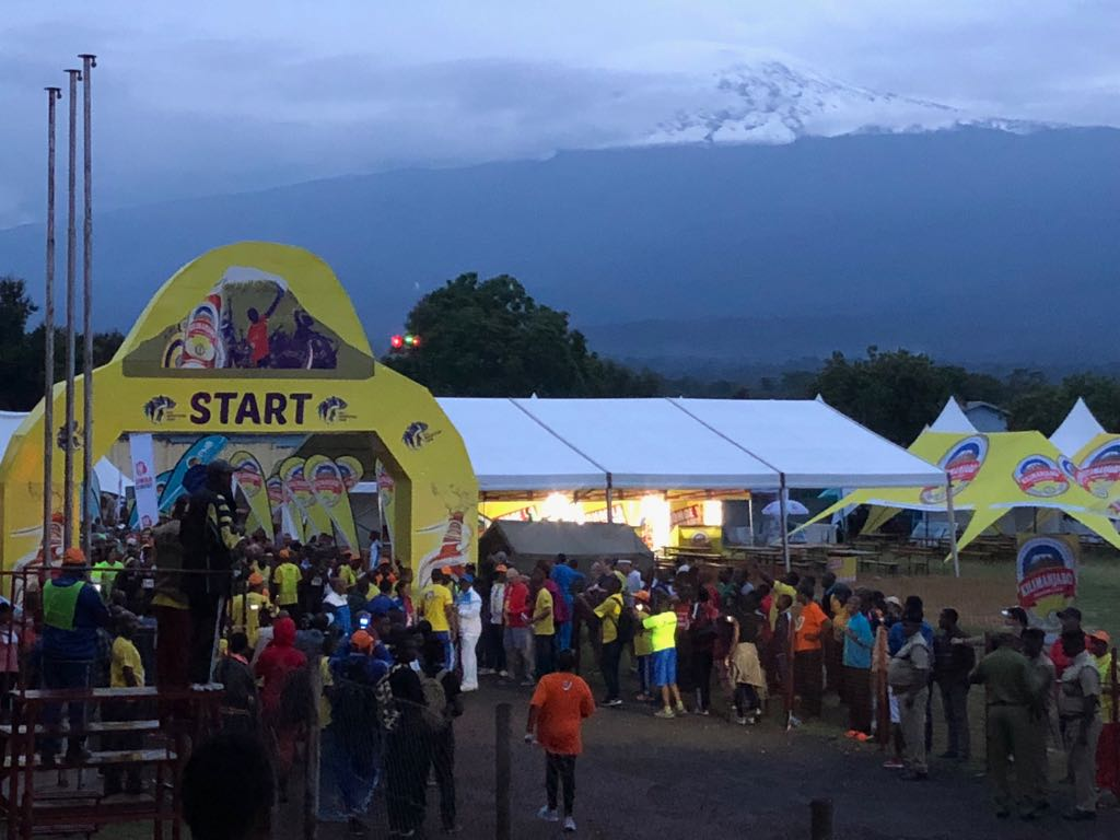 Kilimanjaro looming majestically over Marathon start
