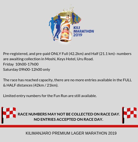 Kilimanjaro Marathon – Full marathon, half marathon, fun run