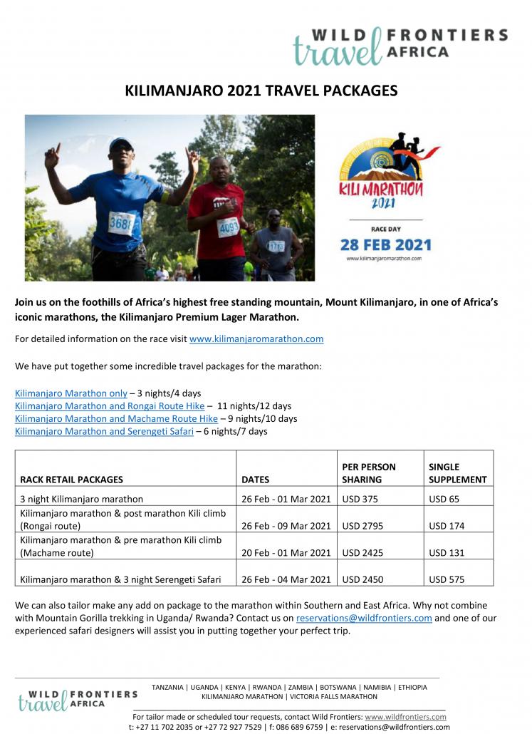 2021 Kili Marathon Packages