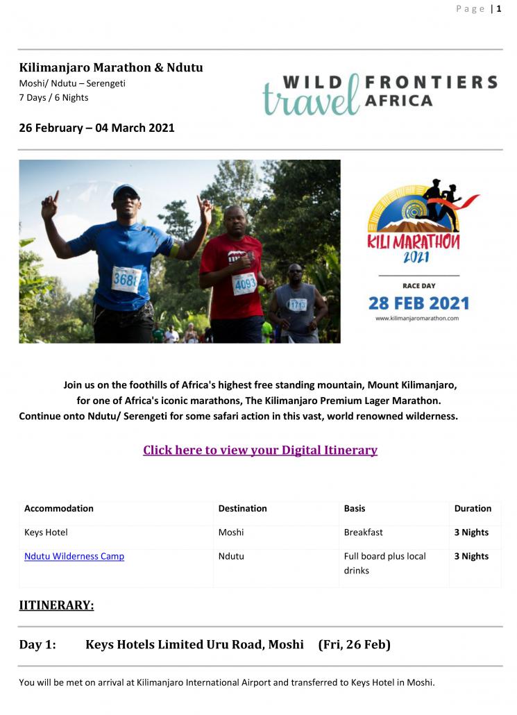 Kilimanjaro Marathon Ndutu Safari Package